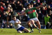 23 February 2020; Karl O'Connell of Monaghan in action against Jordan Flynn of Mayo during the Allianz Football League Division 1 Round 4 match between Monaghan and Mayo at St Tiernach's Park in Clones, Monaghan. Photo by Oliver McVeigh/Sportsfile