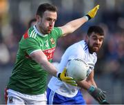 23 February 2020; Darren Coen of Mayo in action against Drew Wylie of Monaghan during the Allianz Football League Division 1 Round 4 match between Monaghan and Mayo at St Tiernach's Park in Clones, Monaghan. Photo by Oliver McVeigh/Sportsfile