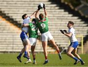 23 February 2020; Darren Hughes, left, and Niall Kearns, right, of Monaghan in action against Jordan Flynn and Aidan O'Shea of Mayo during the Allianz Football League Division 1 Round 4 match between Monaghan and Mayo at St Tiernach's Park in Clones, Monaghan. Photo by Oliver McVeigh/Sportsfile