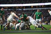 23 February 2020; Caelan Doris of Ireland is tackled by Luke Cowan-Dickie, left, and Will Stuart during the Guinness Six Nations Rugby Championship match between England and Ireland at Twickenham Stadium in London, England. Photo by Ramsey Cardy/Sportsfile