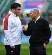 23 February 2020; England head coach Eddie Jones and Jamie George of England ahead of the Guinness Six Nations Rugby Championship match between England and Ireland at Twickenham Stadium in London, England. Photo by Ramsey Cardy/Sportsfile
