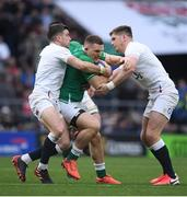 23 February 2020; Andrew Conway of Ireland in action against George Ford, left, and Owen Farrell of England during the Guinness Six Nations Rugby Championship match between England and Ireland at Twickenham Stadium in London, England. Photo by Ramsey Cardy/Sportsfile