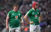 23 February 2020; Tadhg Furlong, left, and Josh van der Flier of Ireland  during the Guinness Six Nations Rugby Championship match between England and Ireland at Twickenham Stadium in London, England. Photo by Ramsey Cardy/Sportsfile