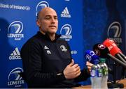 24 February 2020; Backs coach Felipe Contepomi  speaking during a Leinster Rugby Press Conference at Leinster Rugby Headquarters in UCD, Dublin. Photo by Sam Barnes/Sportsfile
