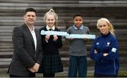24 February 2020; Former Republic of Ireland international and current FAI Interim Deputy Chief Executive Niall Quinn, Republic of Ireland international Stephanie Roche with Millie Murray, age 11, from Scoil Chearbhaill Uí Dhálaigh, Leixlip, Kildare, and Ben Udemba, age 12, from Coolmine Community School, Dublin, at the launch of the The No Barriers 2020 project in FAI Headquarters, Abbotstown, Dublin. The No Barriers 2020 project brings together sport and social action, harnessing the excitement of the UEFA EURO 2020 tournament in primary schools across Ireland. No Barriers 2020 builds up to the UEFA EURO 2020 tournament, encouraging primary schools to use football to inspire social change in their community. This new project brings the excitement and power of football directly to schools in the Republic of Ireland, focusing on Dublin and London as host cities of the tournament. The project is supported by the Football Association of Ireland and the Greater London Authority. Photo by Stephen McCarthy/Sportsfile