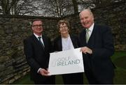 24 February 2020; In attendance at the brand launch for Golf Ireland, the new governing body for golf in Ireland which takes over from the Golfing Union of Ireland and Irish Ladies Golf Union on 1st January 2021, are, from left to right, Mark Kennelly, CEO, Golf Ireland, Fiona Scott, Transition Board member, Golf Ireland, and Tim O'Connor, Chairman, Golf Ireland Transition Board. Photo by Ramsey Cardy/Sportsfile