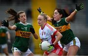 23 February 2020; Neamh Woods of Tyrone in action against Ciara Murphy and Aislinn Desmond of Kerry during the Lidl Ladies National Football League Division 2 Round 4 match between Kerry and Tyrone at Fitzgerald Stadium in Killarney, Kerry. Photo by Diarmuid Greene/Sportsfile