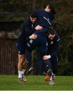 24 February 2020; Jimmy O'Brien, left, Barry Daly, right, and James Lowe during Leinster Rugby Squad Training at Leinster Rugby Headquarters at Rosemount in UCD, Dublin. Photo by Sam Barnes/Sportsfile