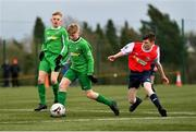 22 February 2020; Brandon Cassidy of Carlow JDL in action against Kevin Kitterick of Mayo SL during the U15 SFAI Subway National Plate Final match between Mayo SL and Carlow JDL at Mullingar Athletic FC in Gainestown, Co. Westmeath. Photo by Seb Daly/Sportsfile