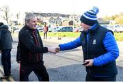23 February 2020; Mayo manager James Horan is welcomed to Clones by Monaghan County Board chairman Michael Eoin McMahon prior to the Allianz Football League Division 1 Round 4 match between Monaghan and Mayo at St Tiernach's Park in Clones, Monaghan. Photo by Oliver McVeigh/Sportsfile
