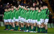 21 February 2020; The Ireland team line up prior to the Six Nations U20 Rugby Championship match between England and Ireland at Franklin's Gardens in Northampton, England. Photo by Brendan Moran/Sportsfile