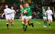 21 February 2020; Max O'Reilly of Ireland on the way to scoring his side's fifth try during the Six Nations U20 Rugby Championship match between England and Ireland at Franklin's Gardens in Northampton, England. Photo by Brendan Moran/Sportsfile