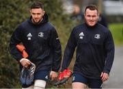 24 February 2020; Josh Murphy, left, and Peter Dooley arrive ahead of Leinster Rugby Squad Training at Leinster Rugby Headquarters at Rosemount in UCD, Dublin. Photo by Sam Barnes/Sportsfile