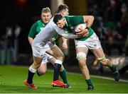 21 February 2020;Thomas Ahern of Ireland is tackled by Tom Roebuck of England during the Six Nations U20 Rugby Championship match between England and Ireland at Franklin's Gardens in Northampton, England. Photo by Brendan Moran/Sportsfile