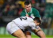 21 February 2020; Oran McNulty of Ireland is tackled by Charlie Watson of England during the Six Nations U20 Rugby Championship match between England and Ireland at Franklin's Gardens in Northampton, England. Photo by Brendan Moran/Sportsfile