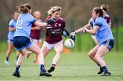 23 February 2020; Tracey Leonard of Galway is tackled by Laura Kane, left, and Eabha Rutledge of Dublin during the 2020 Lidl Ladies National Football League Division 1 Round 4 match between Dublin and Galway at Dublin City University Sportsgrounds in Glasnevin, Dublin. Photo by Piaras Ó Mídheach/Sportsfile