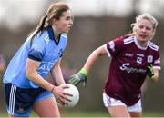 23 February 2020; Orlagh Nolan of Dublin in action against Lynsey Noone of Galway during the 2020 Lidl Ladies National Football League Division 1 Round 4 match between Dublin and Galway at Dublin City University Sportsgrounds in Glasnevin, Dublin. Photo by Piaras Ó Mídheach/Sportsfile