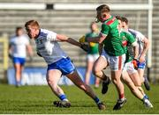 23 February 2020; Kieran Duffy of Monaghan in action against Ryan O'Donoghue of Mayo during the Allianz Football League Division 1 Round 4 match between Monaghan and Mayo at St Tiernach's Park in Clones, Monaghan. Photo by Oliver McVeigh/Sportsfile