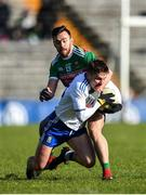 23 February 2020; Dermot Malone of Monaghan in action against Kevin McLoughlin of Mayo during the Allianz Football League Division 1 Round 4 match between Monaghan and Mayo at St Tiernach's Park in Clones, Monaghan. Photo by Oliver McVeigh/Sportsfile