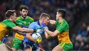 22 February 2020; Ciarán Kilkenny of Dublin is tackled by Hugh McFadden, left, and Odhrán McFadden Ferry of Donegal during the Allianz Football League Division 1 Round 4 match between Dublin and Donegal at Croke Park in Dublin. Photo by Eóin Noonan/Sportsfile