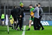 22 February 2020; Jamie Brennan of Donegal with Donegal manager Declan Bonner after sustaining an injury during the Allianz Football League Division 1 Round 4 match between Dublin and Donegal at Croke Park in Dublin. Photo by Eóin Noonan/Sportsfile