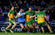 22 February 2020; Colm Basquel of Dublin in action against, from left, Eoin McHugh, Michael Murphy and Peadar Mogan of Donegal during the Allianz Football League Division 1 Round 4 match between Dublin and Donegal at Croke Park in Dublin. Photo by Sam Barnes/Sportsfile