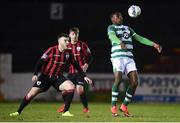 22 February 2020; Sinclair Armstrong of Shamrock Rovers II in action against Joe Gorman of Longford Town during the SSE Airtricity League First Division match between Longford Town and Shamrock Rovers II at Bishopsgate in Longford. Photo by Stephen McCarthy/Sportsfile