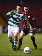 22 February 2020; Sean Brennan of Shamrock Rovers II and Shane Elworthy of Longford Town during the SSE Airtricity League First Division match between Longford Town and Shamrock Rovers II at Bishopsgate in Longford. Photo by Stephen McCarthy/Sportsfile