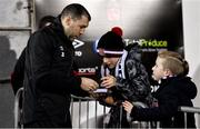 24 February 2020; Brian Gartland of Dundalk signs his autograph for two young supporters prior to the SSE Airtricity League Premier Division match between Dundalk and Cork City at Oriel Park in Dundalk, Louth. Photo by Seb Daly/Sportsfile