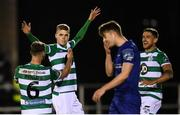 24 February 2020; Rhys Marshall celebrates with his Shamrock Rovers team-mates Greg Bolger, left, and Lee Grace, right, after scoring his side's second goal during the SSE Airtricity League Premier Division match between Waterford United and Shamrock Rovers at the RSC in Waterford. Photo by Stephen McCarthy/Sportsfile