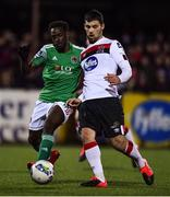 24 February 2020; Patrick Hoban of Dundalk and Henry Ochieng of Cork City during the SSE Airtricity League Premier Division match between Dundalk and Cork City at Oriel Park in Dundalk, Louth. Photo by Ben McShane/Sportsfile