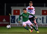 24 February 2020; Daire O'Connor of Cork City in action against Darragh Leahy of Dundalk during the SSE Airtricity League Premier Division match between Dundalk and Cork City at Oriel Park in Dundalk, Louth. Photo by Ben McShane/Sportsfile