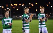 24 February 2020; Lee Grace, centre, and Shamrock Rovers team-mates Dean Williams, left, and Liam Scales following the SSE Airtricity League Premier Division match between Waterford United and Shamrock Rovers at the RSC in Waterford. Photo by Stephen McCarthy/Sportsfile