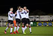 24 February 2020; Jordan Flores of Dundalk, centre, celebrates with team-mates, from left, Darragh Leahy, Sean Hoare, and Chris Shields after scoring his side's third goal during the SSE Airtricity League Premier Division match between Dundalk and Cork City at Oriel Park in Dundalk, Louth. Photo by Seb Daly/Sportsfile