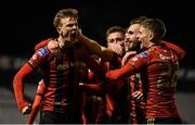 24 February 2020; Kris Twardek of Bohemians, left, celebrates with team-mates after scoring his side's second goal of the game during the SSE Airtricity League Premier Division match between Bohemians and Sligo Rovers at Dalymount Park in Dublin. Photo by Eóin Noonan/Sportsfile