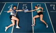 25 February 2020; Marcus Lawler of St. L. O'Toole AC, Carlow, left, and Ciara Neville of Emerald AC, Limerick, during the Irish Life Health National Senior Indoor Championships Launch 2020 at National Indoor Arena on the Sport Ireland National Sports Campus in Abbotstown, Dublin. Photo by David Fitzgerald/Sportsfile