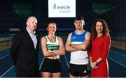 25 February 2020; In attendance, from left are, Hamish Adams, CEO Athletics Ireland, Ciara Neville of Emerald AC, Limerick, Marcus Lawler of St. L. O'Toole AC, Carlow, and Liz Rowen, Head of Marketing of Irish Life Health during the Irish Life Health National Senior Indoor Championships Launch 2020 at National Indoor Arena on the Sport Ireland National Sports Campus in Abbotstown, Dublin. Photo by David Fitzgerald/Sportsfile