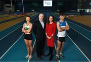 25 February 2020; In attendance, from left are, Ciara Neville of Emerald AC, Limerick, Hamish Adams, CEO Athletics Ireland, Liz Rowen, Head of Marketing of Irish Life Health and Marcus Lawler of St. L. O'Toole AC, Carlow, during the Irish Life Health National Senior Indoor Championships Launch 2020 at National Indoor Arena on the Sport Ireland National Sports Campus in Abbotstown, Dublin. Photo by David Fitzgerald/Sportsfile