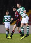 22 February 2020; Sean Callan of Shamrock Rovers II and Rob Manley of Longford Town during the SSE Airtricity League First Division match between Longford Town and Shamrock Rovers II at Bishopsgate in Longford. Photo by Stephen McCarthy/Sportsfile