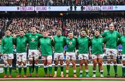 23 February 2020; Ireland players, from left, Jonathan Sexton, Peter O'Mahony, James Ryan, Tadhg Furlong, Conor Murray, Andrew Conway, Rob Herring, Andrew Porter, and Devin Toner stand for Ireland's Call prior to the Guinness Six Nations Rugby Championship match between England and Ireland at Twickenham Stadium in London, England. Photo by Brendan Moran/Sportsfile