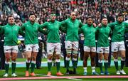 23 February 2020; Ireland players, from left, Dave Kilcoyne, Robbie Henshaw, Caelan Doris, Ultan Dillane, Bundee Aki, John Cooney and Ross Byrne stand for Ireland's Call prior to the Guinness Six Nations Rugby Championship match between England and Ireland at Twickenham Stadium in London, England. Photo by Brendan Moran/Sportsfile