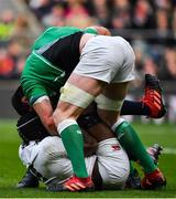 23 February 2020; James Ryan of Ireland tussles with Maro Itoje of England during the Guinness Six Nations Rugby Championship match between England and Ireland at Twickenham Stadium in London, England. Photo by Brendan Moran/Sportsfile