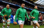 23 February 2020; Ireland players, from left, Ultan Dillane, Rónan Kelleher and John Cooney run out prior to the Guinness Six Nations Rugby Championship match between England and Ireland at Twickenham Stadium in London, England. Photo by Brendan Moran/Sportsfile