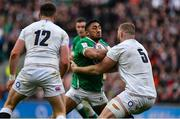 23 February 2020; Bundee Aki of Ireland is tackled by George Kruis of England during the Guinness Six Nations Rugby Championship match between England and Ireland at Twickenham Stadium in London, England. Photo by Brendan Moran/Sportsfile