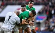 23 February 2020; Jonathan Sexton of Ireland is tackled by Joe Marler and Jamie George of England during the Guinness Six Nations Rugby Championship match between England and Ireland at Twickenham Stadium in London, England. Photo by Brendan Moran/Sportsfile