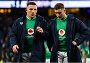 23 February 2020; Andrew Conway, left, and Jordan Larmour of Ireland leave the pitch after the Guinness Six Nations Rugby Championship match between England and Ireland at Twickenham Stadium in London, England. Photo by Brendan Moran/Sportsfile