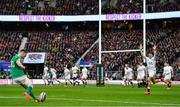 23 February 2020; Jonathan Sexton of Ireland kicks a conversion, which subsequently went wide, during the Guinness Six Nations Rugby Championship match between England and Ireland at Twickenham Stadium in London, England. Photo by Brendan Moran/Sportsfile