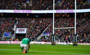 23 February 2020; Jonathan Sexton of Ireland prepares to kick a conversion during the Guinness Six Nations Rugby Championship match between England and Ireland at Twickenham Stadium in London, England. Photo by Brendan Moran/Sportsfile