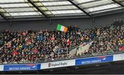 23 February 2020; An Irish tricolour is waved during the Guinness Six Nations Rugby Championship match between England and Ireland at Twickenham Stadium in London, England. Photo by Brendan Moran/Sportsfile