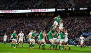 23 February 2020; Ultan Dillane of Ireland wins a lineout from Maro Itoje of England during the Guinness Six Nations Rugby Championship match between England and Ireland at Twickenham Stadium in London, England. Photo by Brendan Moran/Sportsfile